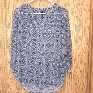 Blue & purple patterned blouse